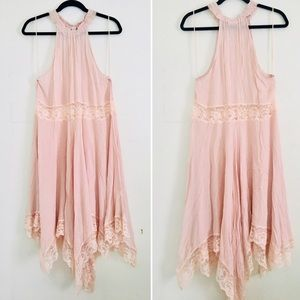 Free People lightweight salmon dress & lace detail